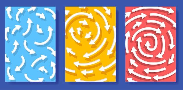 Illustrazione delle frecce con ombra che si muovono in un cerchio