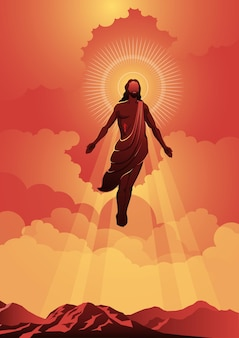 Un'illustrazione del giorno dell'ascensione di gesù cristo. illustrazione vettoriale. serie biblica
