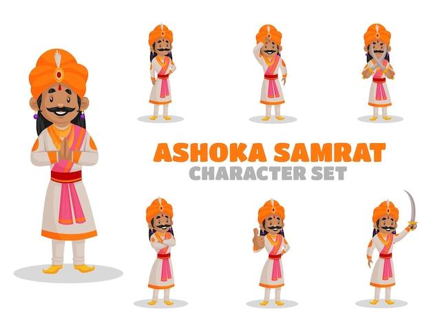 Illustrazione di ashoka samrat set di caratteri