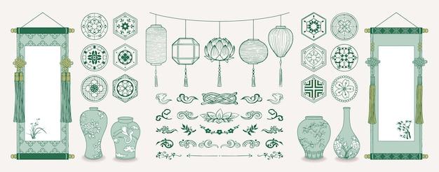 Illustrazione di rotoli sospesi asiatici, lanterne, vasi in ceramica, motivi e decorazioni tradizionali.