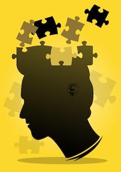 Un'illustrazione della giornata della consapevolezza di asperger e dei pezzi del puzzle