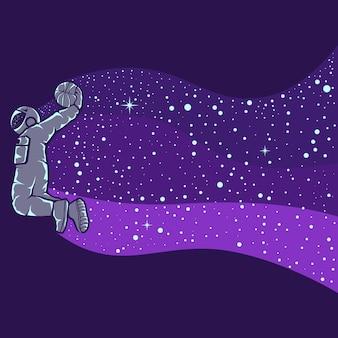 Illustrazione dell'astronauta che gioca a basket