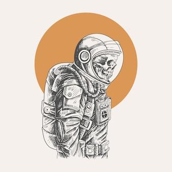 Illustrazione astronauta teschio