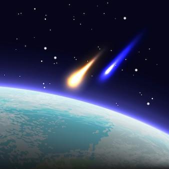 Illustrazione di attacco che brucia che esplode asteroidi si avvicina alla superficie del pianeta