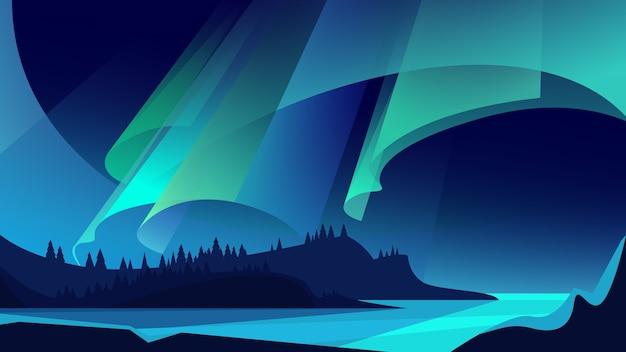 Illustrazione dell'aurora boreale. spettacolo di luci naturali.