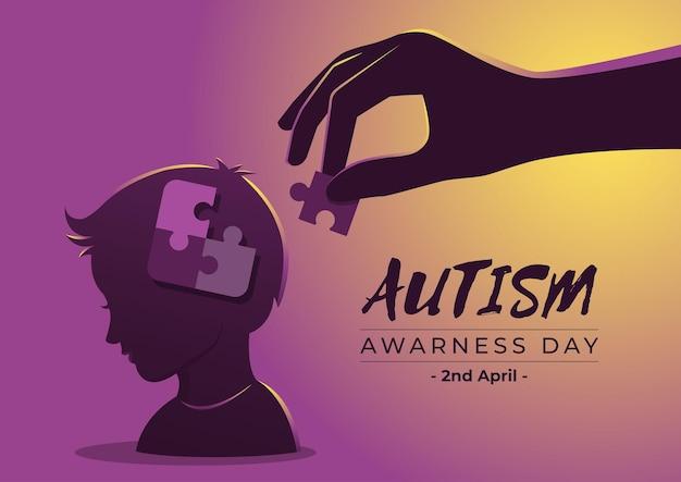 Un'illustrazione della giornata della consapevolezza dell'autismo con pezzi di un puzzle nel bambino