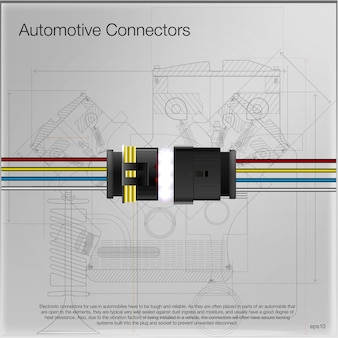Illustrazione di un connettore automobilistico. può essere usato come pubblicità. background tecnico . tutti gli elementi dell'immagine sono raggruppati.
