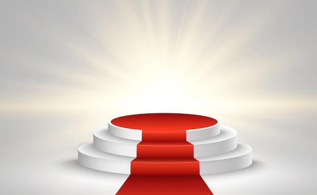 Illustrazione per i vincitori del premio. piedistallo o piattaforma per onorare i vincitori del premio.