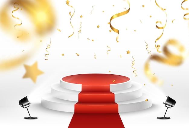 Illustrazione per i vincitori del premio piedistallo o piattaforma per onorare i vincitori del premio