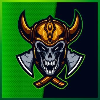 Illustrazione della testa del cranio impressionante con un sorriso, elmo vichingo, corno e asce sullo sfondo verde. illustrazione disegnata a mano per logo sport mascotte