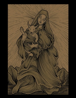 Illustrazione baby baphomet e madre con stile incisione