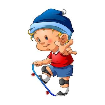 L'illustrazione del bambino di strada che gioca con lo skateboard e usa il cappello blu