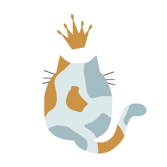 Illustrazione della parte posteriore di un gatto con una corona. isolato su sfondo bianco.
