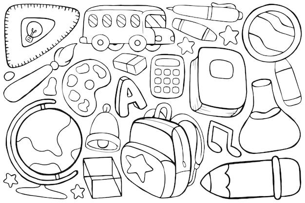 Illustrazione del doodle di ritorno a scuola in stile cartone animato Vettore Premium