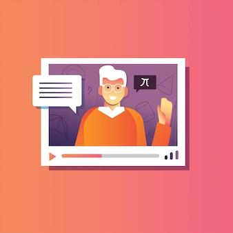 Illustrazione torna a scuola di maschio spiega webinar, conferenza online, corsi di formazione online