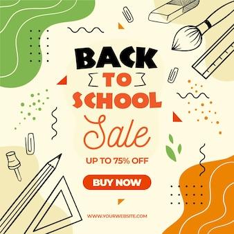 Illustrazione di ritorno alle vendite scolastiche