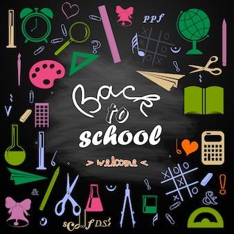 Illustrazione di ritorno a scuola scritta su sfondo lavagna iscrizione di ritorno a scuola