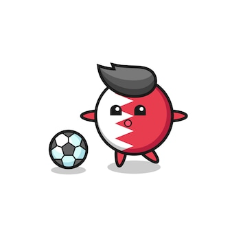 L'illustrazione del fumetto del distintivo della bandiera del bahrain sta giocando a calcio, design in stile carino per maglietta, adesivo, elemento logo
