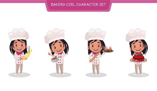 Illustrazione del set di caratteri donna panetteria