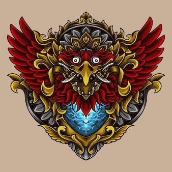 Illustrazione balinese barong garuda incisione ornamento