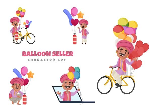 Illustrazione del set di caratteri del venditore di palloncini