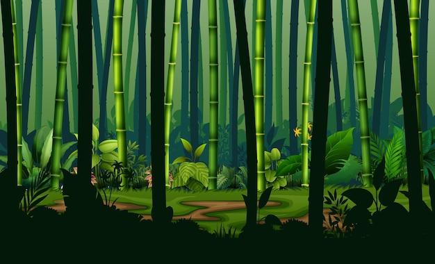 Illustrazione della foresta di bambù al paesaggio notturno