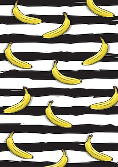 Un'illustrazione del modello di frutta banana con sfondo a strisce nere