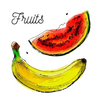 Illustrazione di banana e anguria con una macchia di inchiostro giallo. concetto di estate