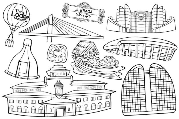Illustrazione del doodle della città di bandung in stile cartone animato cartoon