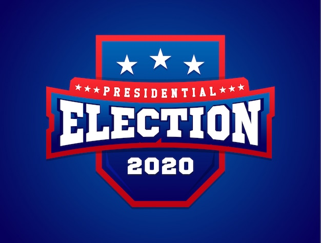 Banner di illustrazione con scudo. bandiera americana. elezione presidenziale in.