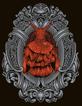 Illustrazione dio baphomet con ornamento incisione