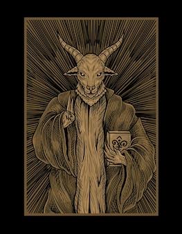 Illustrazione dio baphomet con stile incisione
