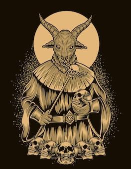 Illustrazione dio baphomet con testa di teschio