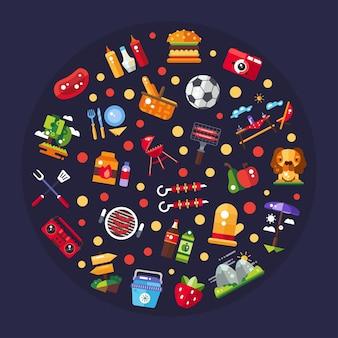 Illustrazione di barbecue e picnic estivi icone ed elementi di infografica