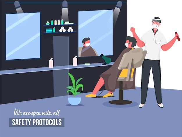 Illustrazione dell'uomo del barbiere con il cliente seduto alla sedia in barberia