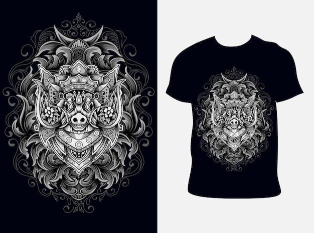 Illustrazione maiale barong con design t-shirt