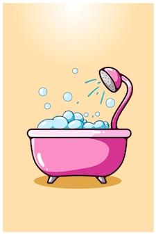 Illustrazione di un disegno a mano vasca da bagno