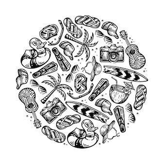 Illustrazione dell'elemento dell'attrezzatura da spiaggia in doodle vintage con forma di cerchio