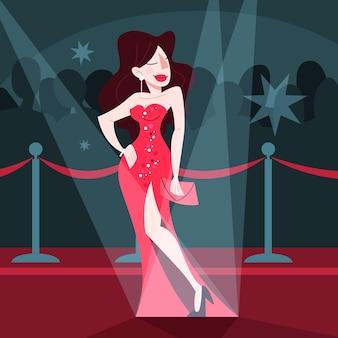 Illustrazione di una bella celebrità sul tappeto rosso,