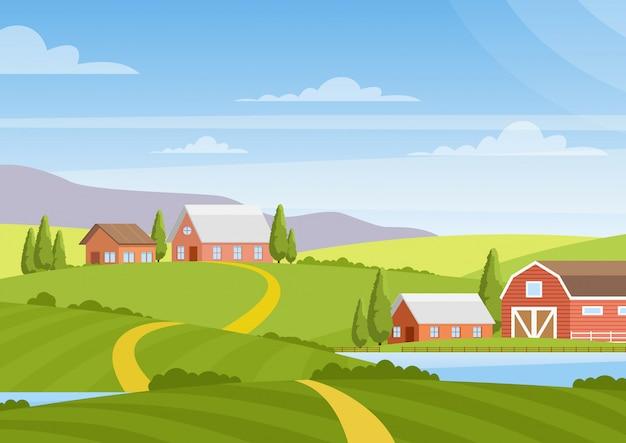 Illustrazione del bellissimo paesaggio di campagna con campi, alba, verdi colline, fattoria, case, alberi, cielo blu di colore brillante, sfondo in stile cartone animato.