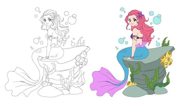 Illustrazione di una bella ragazza sirena seduta sulla pietra.