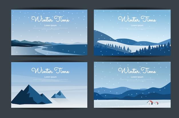 Illustrazione del bellissimo concetto di paesaggio invernale.