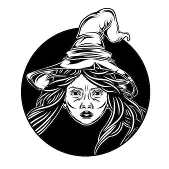 L'illustrazione della bella strega esce dal buco nero