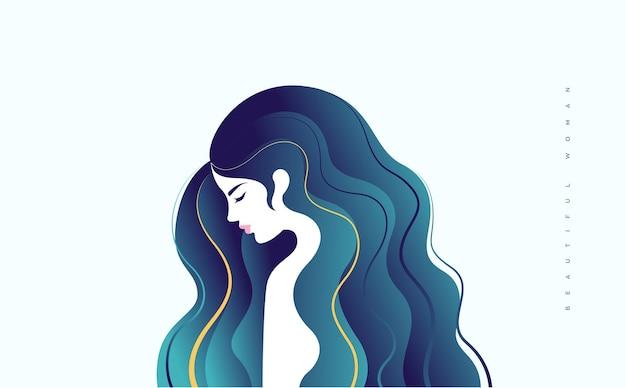 Illustrazione di bella giovane donna con riflessi gialli in lunghi capelli blu turchese