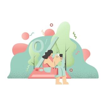 Illustrazione di beauty woman shopping day per progettazione, applicazione e stampa del sito web