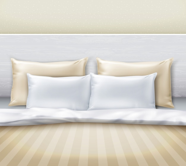 Illustrazione della biancheria da letto sul letto in camera da letto in vista frontale in stile moderno
