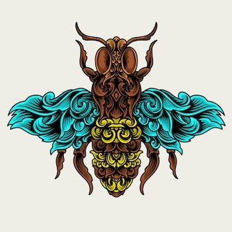 Illustrazione ape insetto con stile ornamento