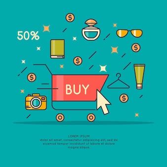 Illustrazione della migliore vendita in stile cartone animato con telefono, carrello, mano e prodotti diversi. Vettore Premium