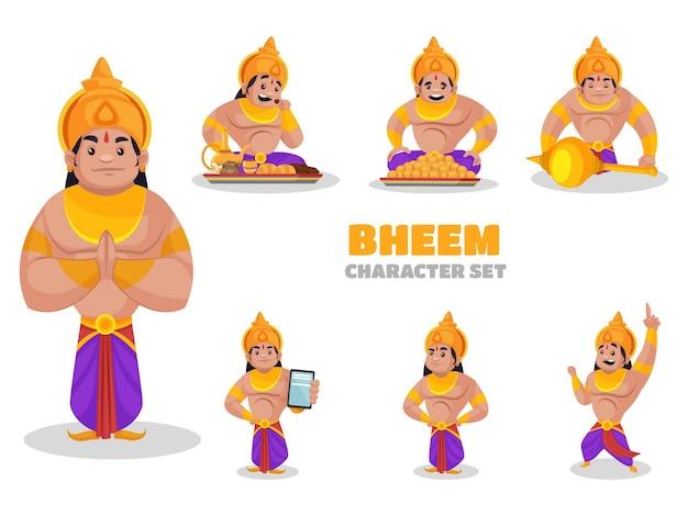 Illustrazione del set di caratteri bheem