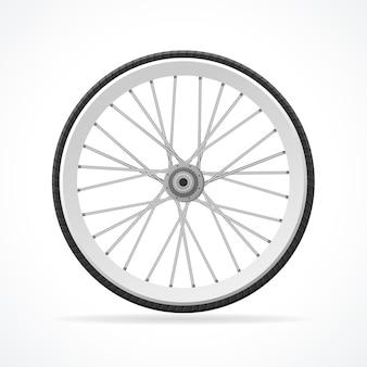 Illustrazione ruota di bicicletta isolata su uno sfondo bianco.